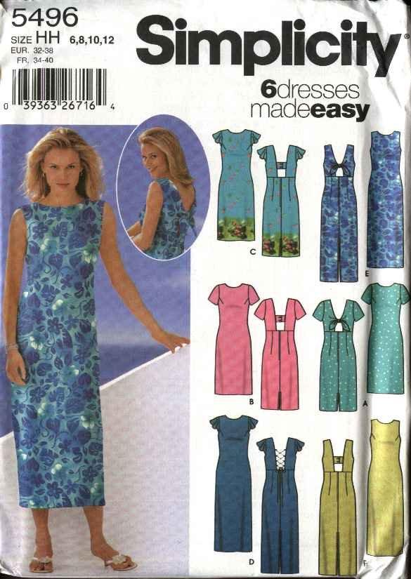 Simplicity Sewing Pattern 5496 Misses Size 14-20 Easy Summer Short Long Dresses Sundress