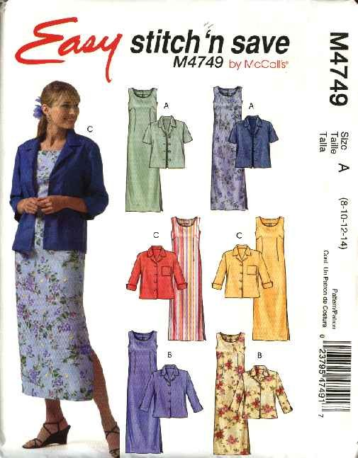 McCall's Sewing Pattern 4749 Misses Size 8-14 Easy Button Front Jacket Sleeveless Straight Dress