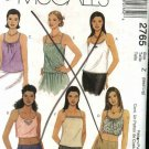 McCall's Sewing Pattern 2765 Misses Size 12-18 Easy Summer Sleeveless Camisole Midriff Tops