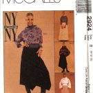 McCall's Sewing Pattern 2924 Misses Size 12-16 NYNY Pullover Tops Asymmetrical Long Skirts
