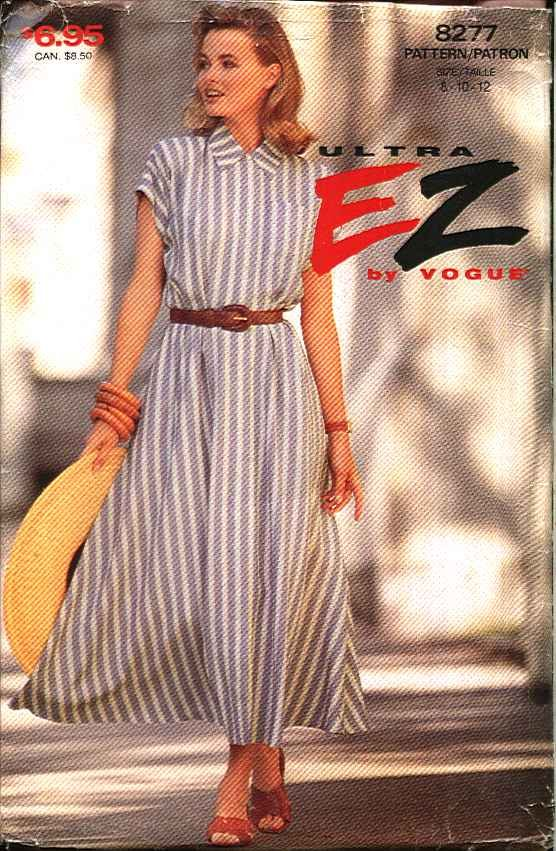 Vogue Sewing Pattern 8277 Misses Size 8-12 Easy Concealed Front Button Flared Skirt Dress