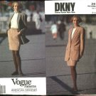 Vogue Sewing Pattern 2612 Misses Size 8-12 DKNY Lined Long Sleeve Jacket Straight Skirt Suit