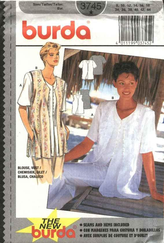 Burda Sewing Pattern 3745 Misses Size 8-18 Short Sleeve Button Front Blouse Vest