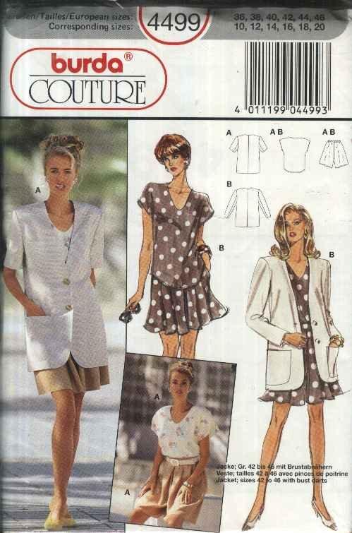 Burda Sewing Pattern 4499 Misses Size 10-20 Wardrobe T-Shirt button Front Jacket Split-Skirt