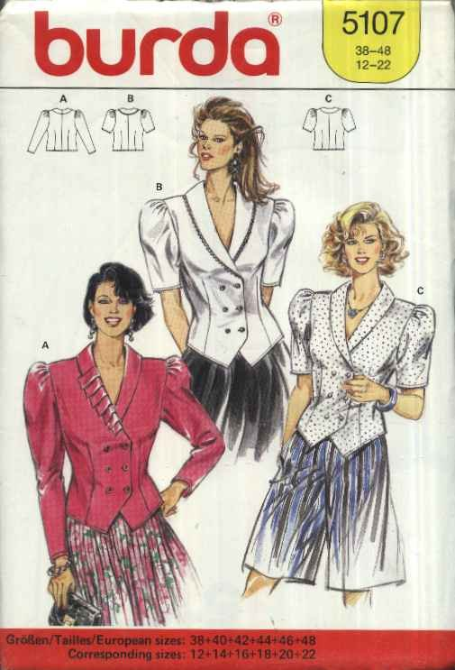 Burda Sewing Pattern 5107 Misses Size 12-22 Button Front Blouse Short Long Sleeves Collar Options