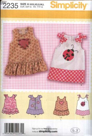 Simplicity Sewing Pattern 2235 Baby Infant Girl Sizes XXS-L Dress Hem Sleeve Trim Options
