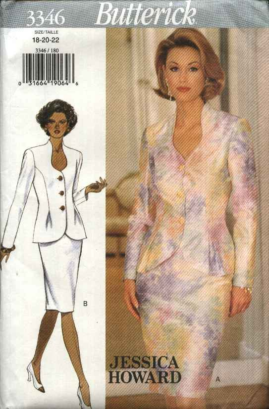Butterick Sewing Pattern 3346 Misses Size 18-22 Easy Top Jacket Skirt Suit Jessica Howard