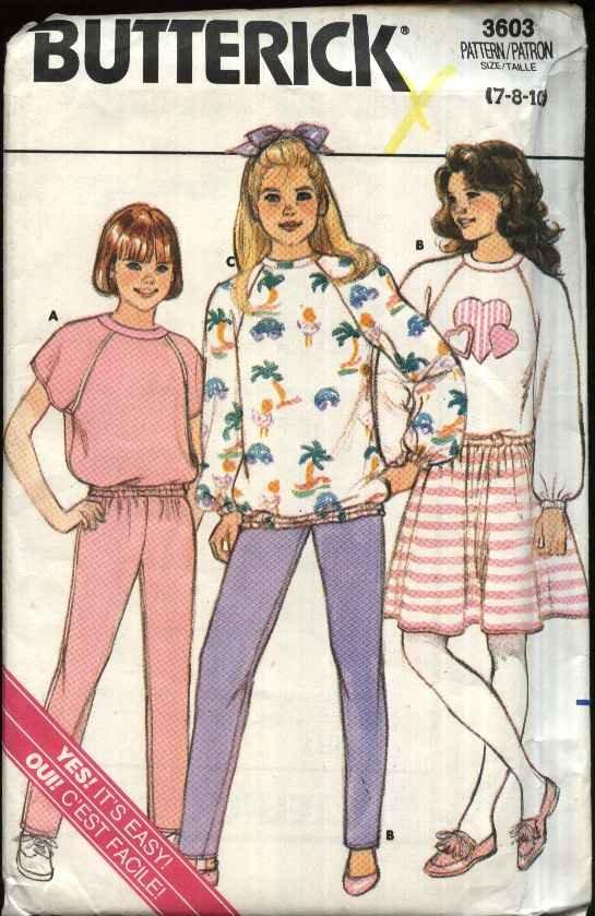 Butterick Sewing Pattern 3603 Girls Size 7-10 Easy Knit Sweatshirt Top Skirt Pants Applique
