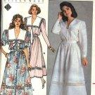 Butterick Sewing Pattern 3736 Misses' Size 6-10 Button Front Long Short Sleeve Dirndl Skirt  Dress
