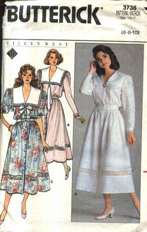 Butterick Sewing Pattern 3736 Misses� Size 6-10 Button Front Long Short Sleeve Dirndl Skirt  Dress