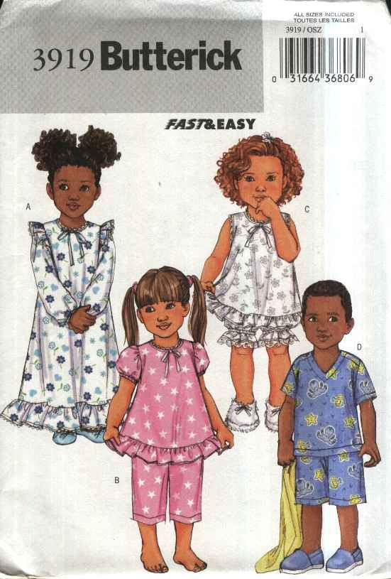 Butterick Sewing Pattern 3919 Boys Girls Size 1-6 Easy Pajamas Gown Top Pants Bloomers Shorts