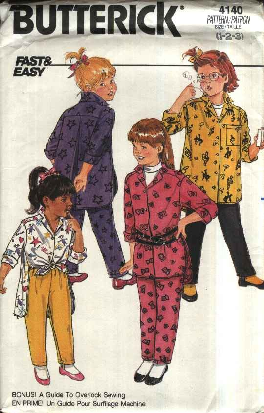 Butterick Sewing Pattern 4140 Toddler Girls Size 1-3 Button Front Big ShirtTapered Pants Leggings