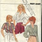 Butterick Sewing Pattern 4496 Misses Size 6-10 Easy Classic Button Front Blouse Sleeve Options