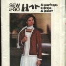 Butterick Sewing Pattern 4594 Misses Size 14 Unlined Cardigan Knit Jacket Dress Scarf