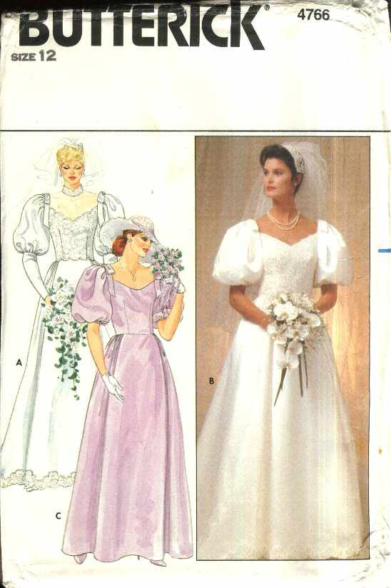 Butterick Sewing Pattern 4766 Misses Size 12 Bridal Wedding Bridesmaid Dress Gown Cut-on Train