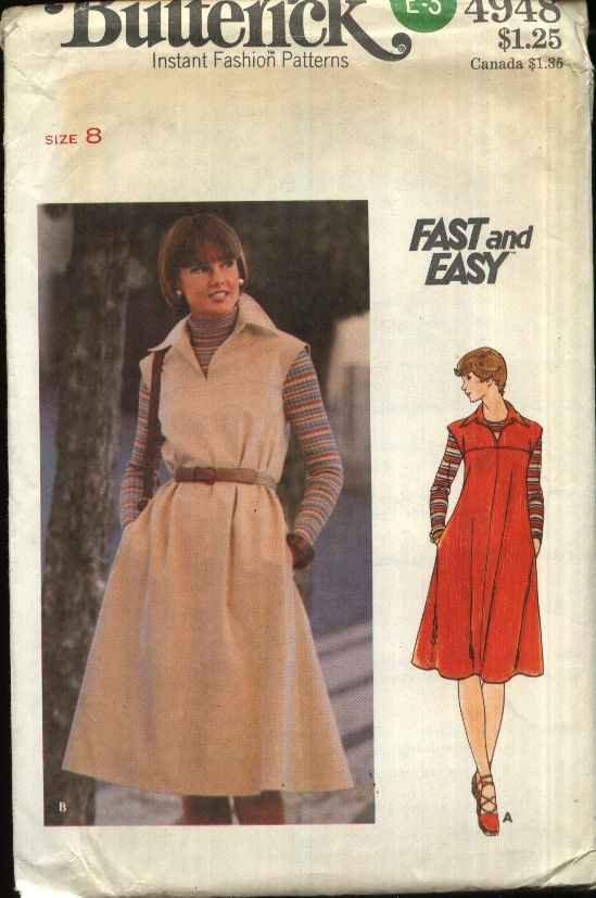 Butterick Sewing Pattern B4948 4948 Misses Size 8 Easy Front Back Yoke Flared Dress Jumper  Belt