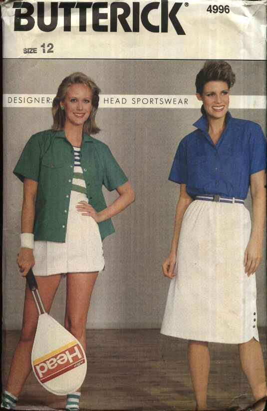 Butterick Sewing Pattern 4996 Misses Size 12 Tennis Snap Front Shirt Skirt Shorts