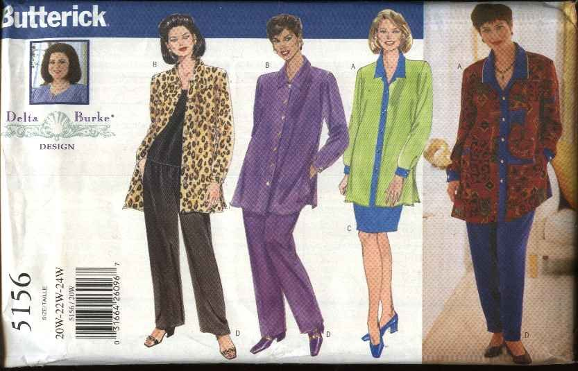 Butterick Sewing Pattern 5156 Women�s Plus Size 20W-24W Easy Wardrobe Shirt Top Skirt Pants