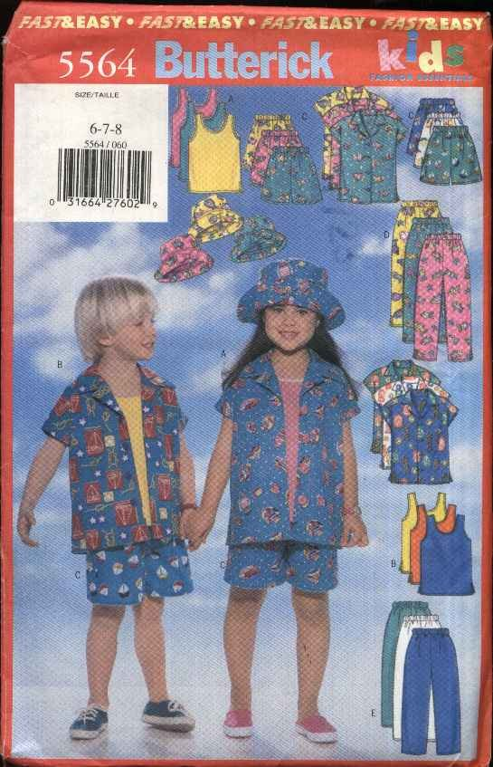 Butterick Sewing Pattern 5564 Girls Boys Size 6-8  Easy Summer Wardrobe Shirt Top Shorts Pants Hat