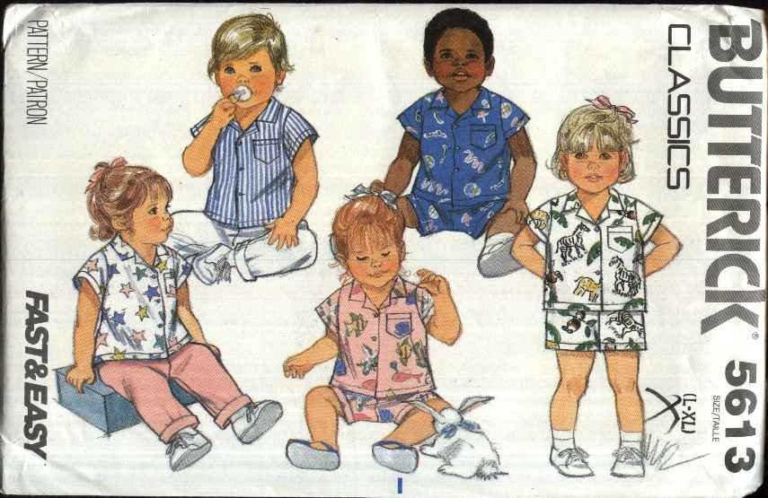 Butterick Sewing Pattern 5613 Baby Boys Girls Size L-XL Easy Button Front Shirt Pants Shorts