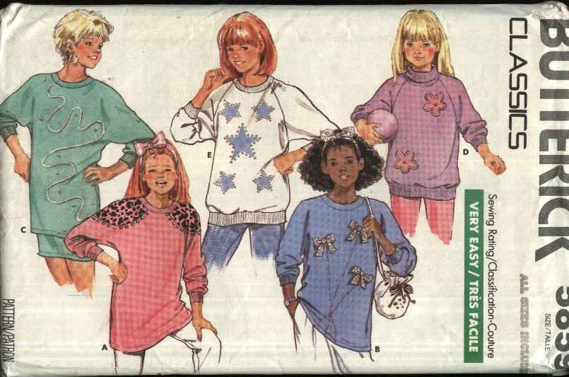 Butterick Sewing Pattern 5859 Girls Sizes 7-14 Easy Classic Sweatshirts Tops Embellished Appliqued