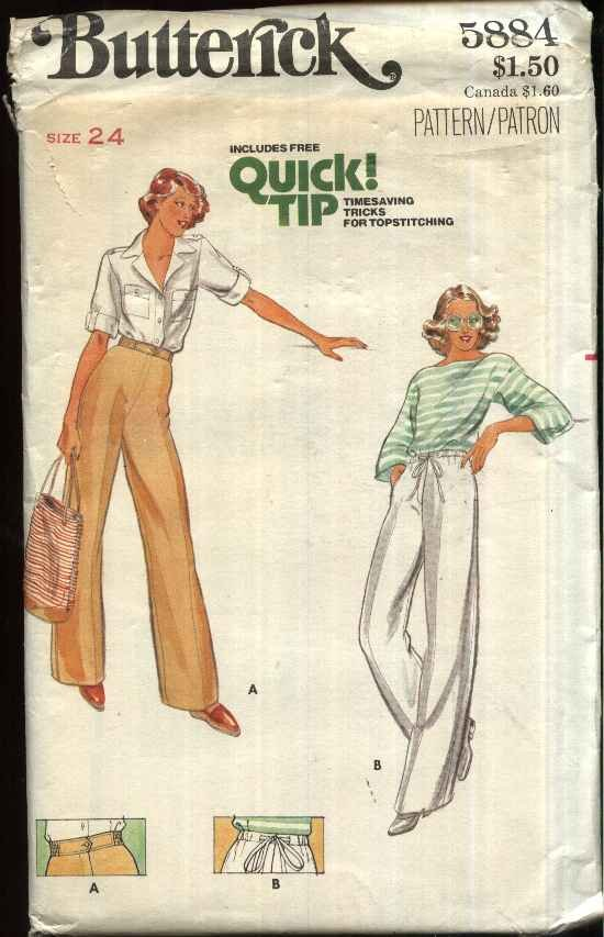 Butterick Sewing Pattern 5884 Misses� Size 8 Drawstring Zipper Front Long Pants