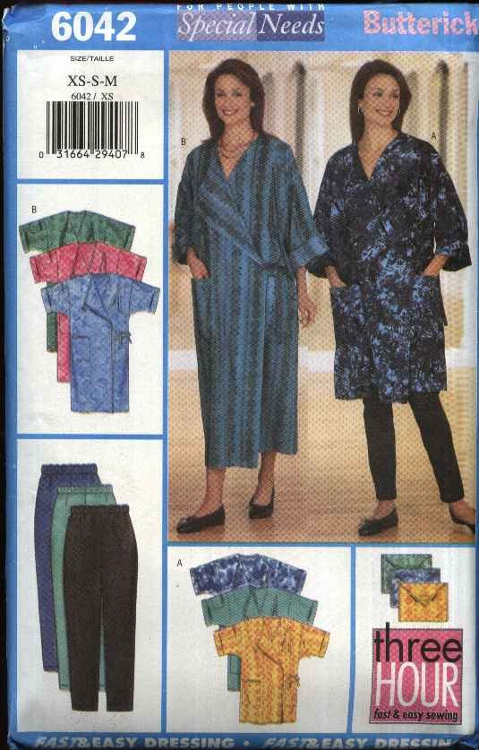 Butterick Sewing Pattern 6042 Misses Size 6-14 Easy Hospital Spa Gown Cover-Up Leggings Bag