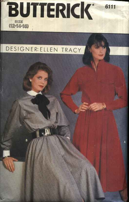 Butterick Sewing Pattern 6111 Misses Size 12-16 Classic Shirtwaist Button Front Long Sleeve Dress