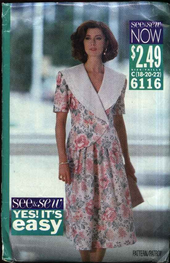 Butterick Sewing Pattern 6116 B6116 Misses Size 18-22 Easy Top Full Gathered Skirt 2 Piece Dress