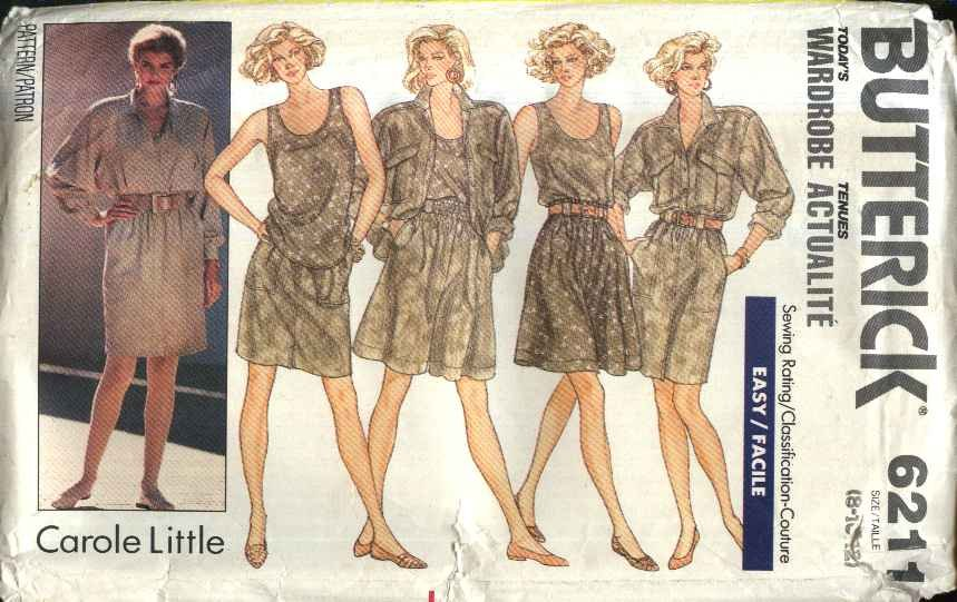 Butterick Sewing Pattern 6211 Misses Size 8-12 Easy Summer Wardrobe Shirt Top Skirt Shorts