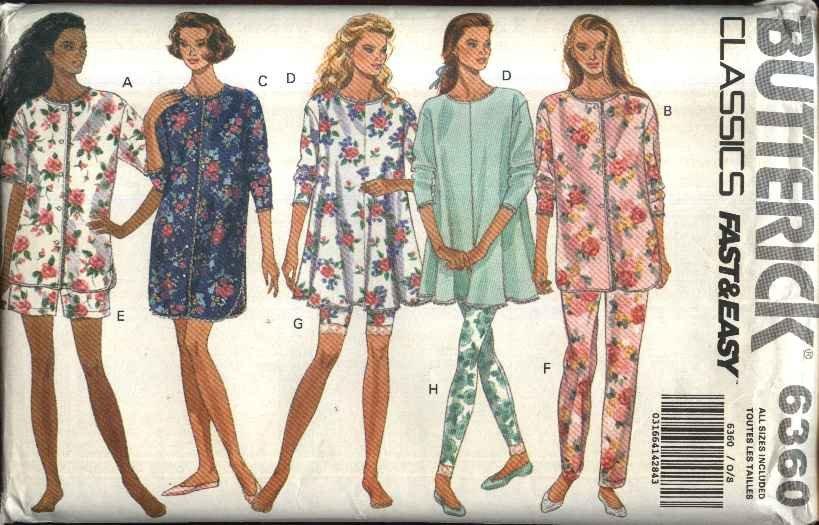 Butterick Sewing Pattern 6360 Misses Sizes 6-22 Easy Pajamas Top Pants Shorts Leggings Nightshirt
