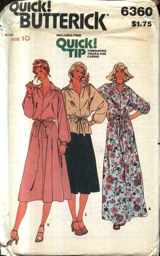 Retro Butterick Sewing Pattern 6360 B6360 Misses Size 10 Long Short Dress Top Skirt Dolman Sleeves