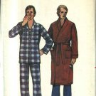Butterick Sewing Pattern 6367 Men's Size Small 34-36 Classic Button Front Pajamas Wrap Robe Belt
