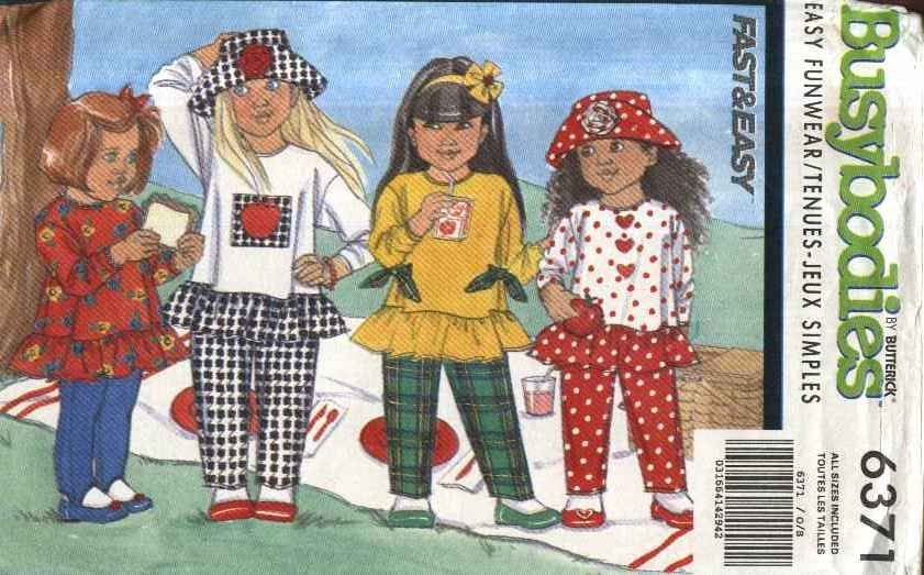 Butterick Sewing Pattern 6371 Girls Size 2-6X Easy Pullover Tops Pull-on Pants Hat Knit Leggings