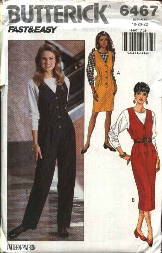 Butterick Sewing Pattern 6467 Misses Size 18-22 Easy Straight Button Front Jumper Jumpsuit Top