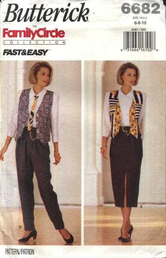 Butterick Sewing Pattern 6682 Misses Size 12-16 Easy Wardrobe Vest Tie Shirt Skirt Pants