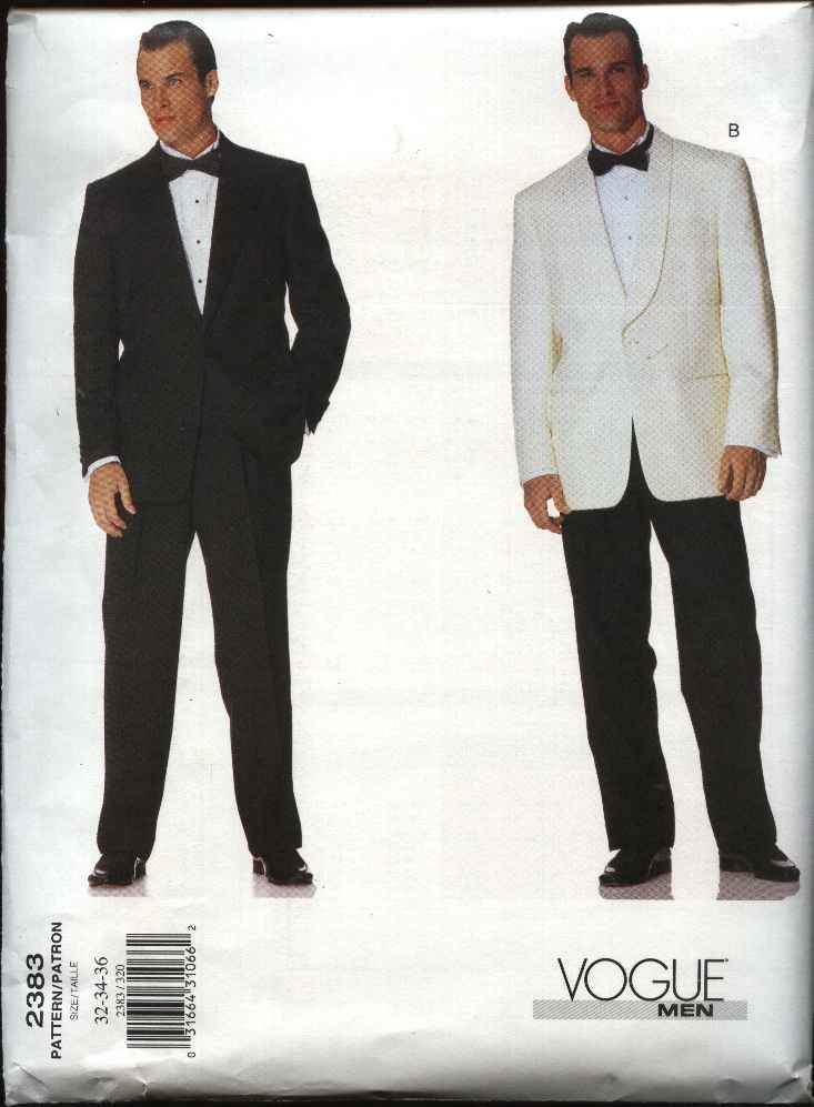 Vogue Sewing Pattern 2383 Mens Size 44-46-48 Jacket Pants Trousers Formal Suit Tuxedo