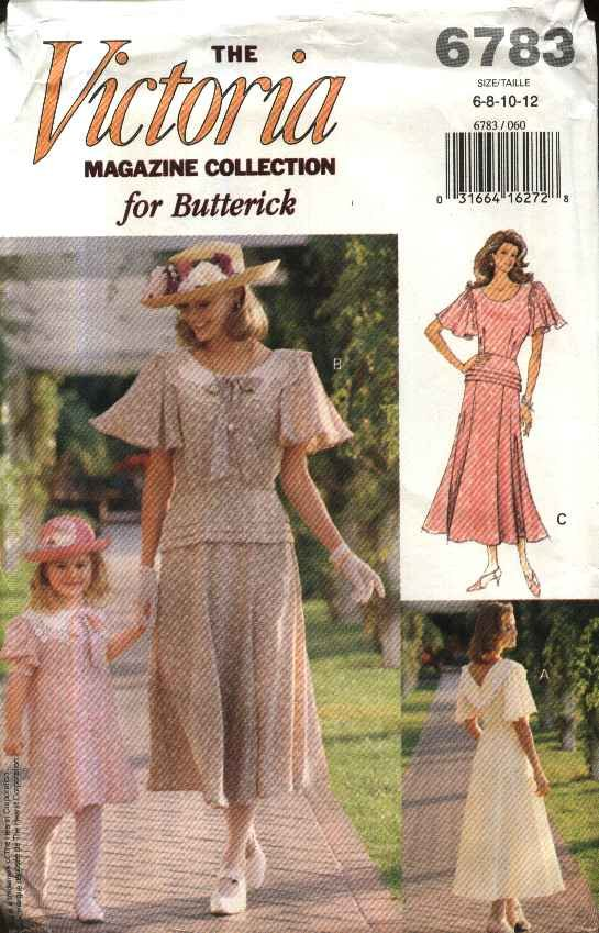 Butterick Sewing Pattern 6783 Misses Size 6-12 Victoria Magazine Tea Afternoon Dress