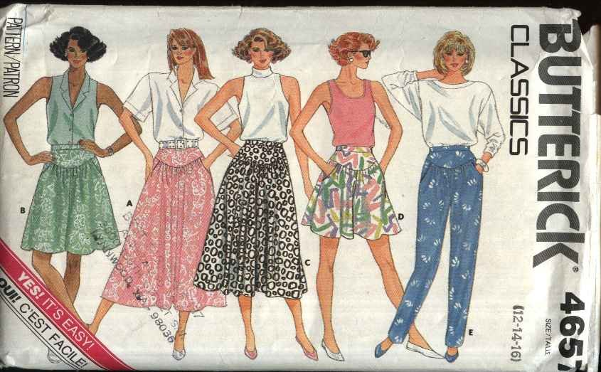 Butterick Sewing Pattern 4657 Misses Size 6-10 Easy Classic Yoke Skirt Culottes Split-Skirt Pants