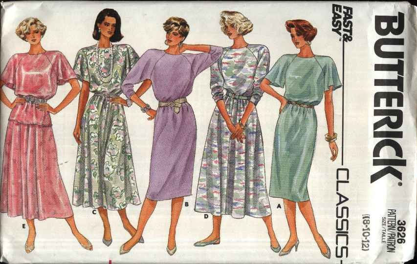 Butterick Sewing Pattern 3626 Misses Size 14-18  Easy Pullover Straight Flared Dress Top Skirt