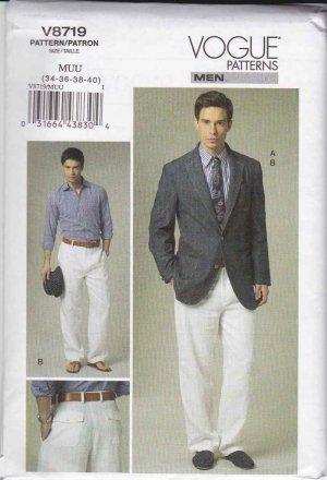 Vogue Sewing Pattern 8719 Mens Size 40-46 Unlined Button Front Jacket Pants Trousers Suit