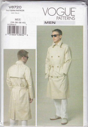 Vogue Sewing Pattern 8720 Mens Size 40-46 Unlined Double Breasted Raincoat Trench Coat Belt