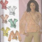 Simplicity Sewing Pattern 4125 Misses Size 16-24 Front Wrap Blouse Top Sleeve Ruffle Trim Options