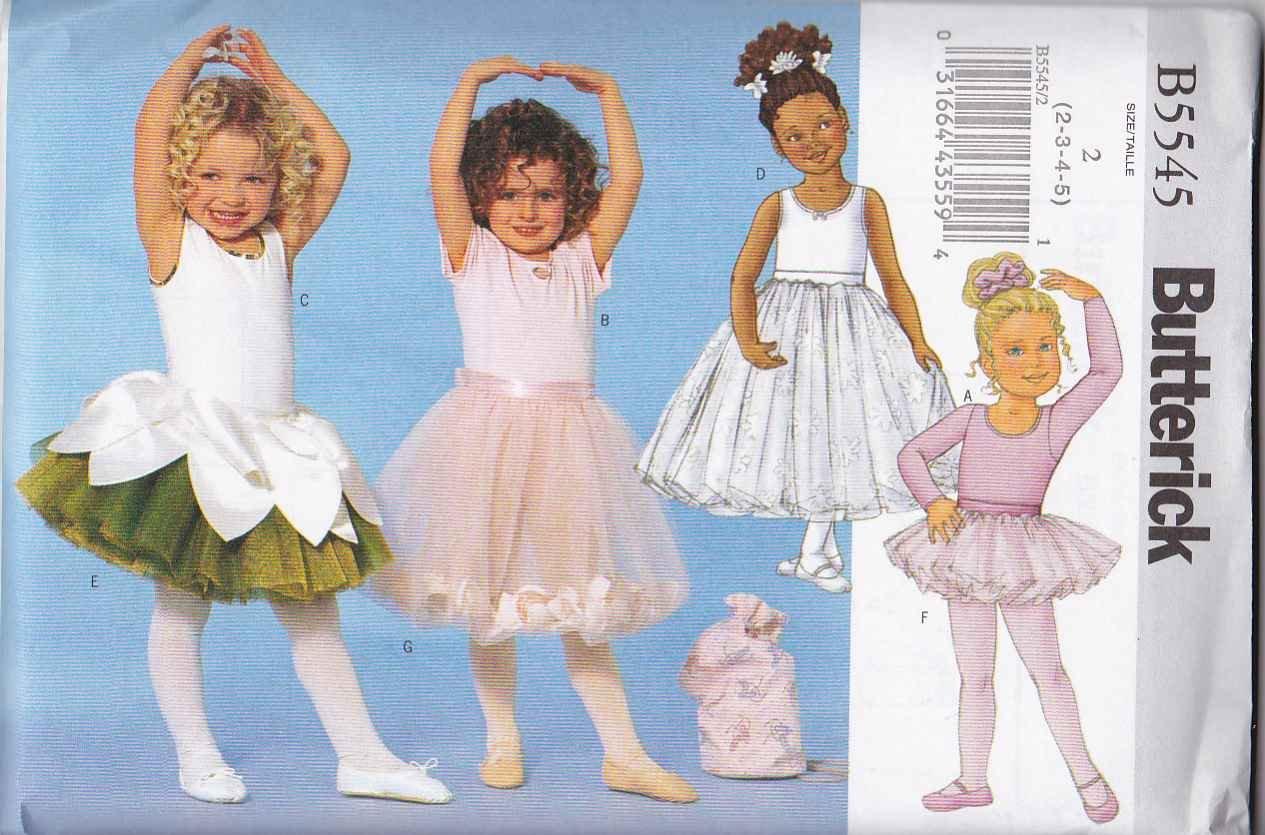 Butterick Sewing Pattern 5545 6660 Girls Size 2-5 Easy Dance Leotard Tutu Skirt Bag Ponytail Holder