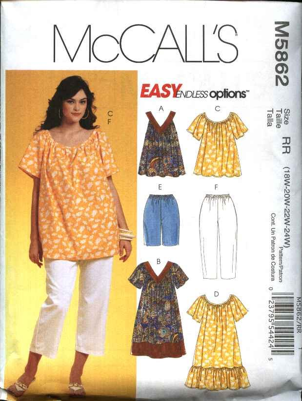 McCall's Sewing Pattern 5862 Womans Plus Size 18W-24W Easy Wardrobe Top Dress Shorts Pants