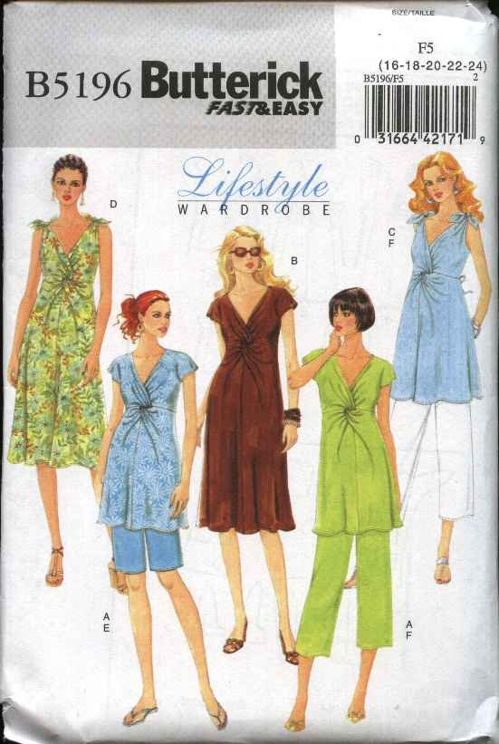 Butterick Sewing Pattern 5196 Misses Size 16-24 Easy  Maternity Wardrobe Top Dress Shorts Pants