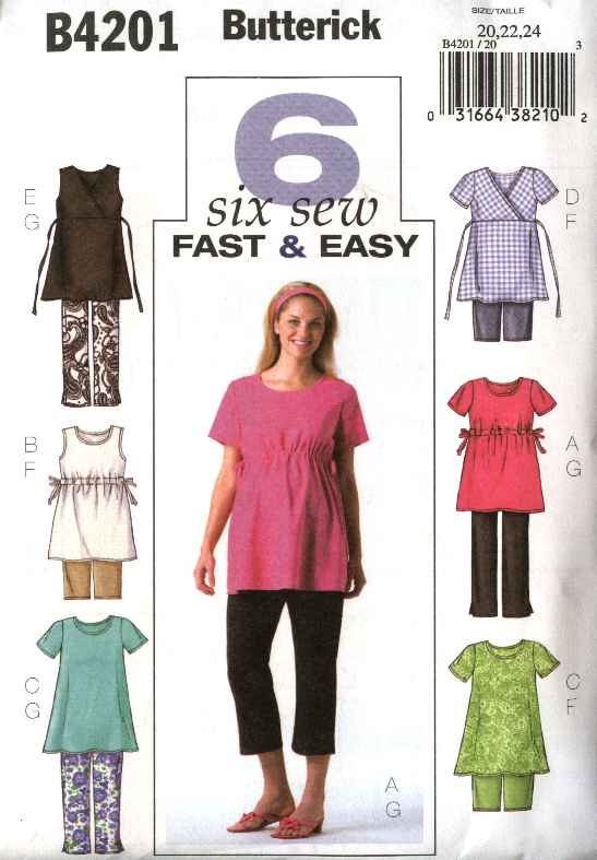 Butterick Sewing Pattern 4201 B4201 Misses Size 20-24 Easy Maternity Pullover Top Pants Shorts