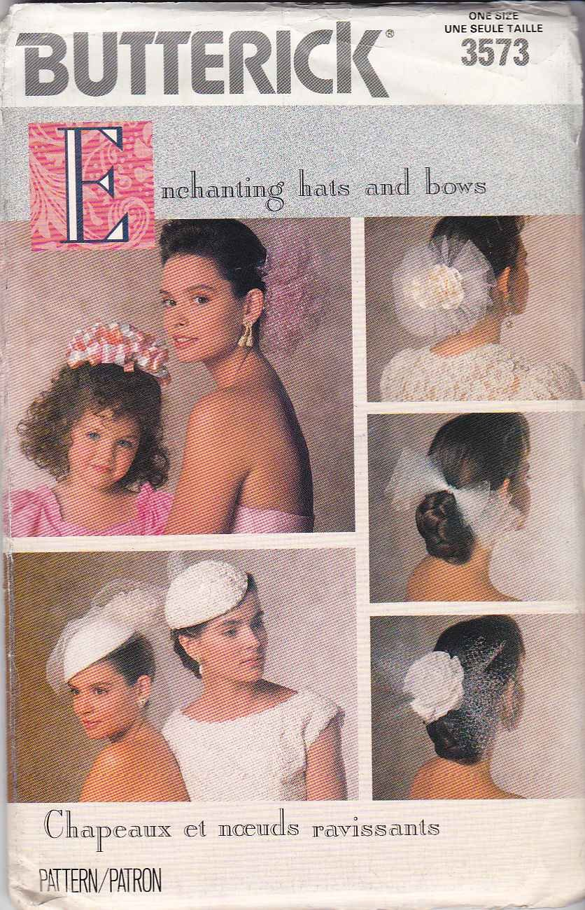 Butterick Sewing Pattern 3573 498 Misses Girls All Size Wedding Bridal Hats Hair Bows Veils