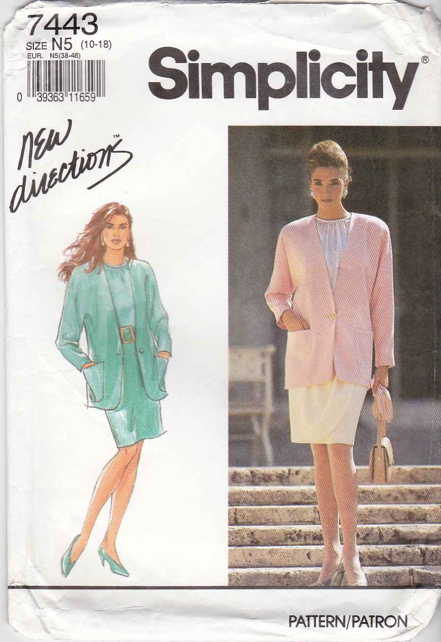 Simplicity Sewing Pattern 7443 Misses Sizes 10-18 Blouse Straight Mock Wrap Skirt Jacket