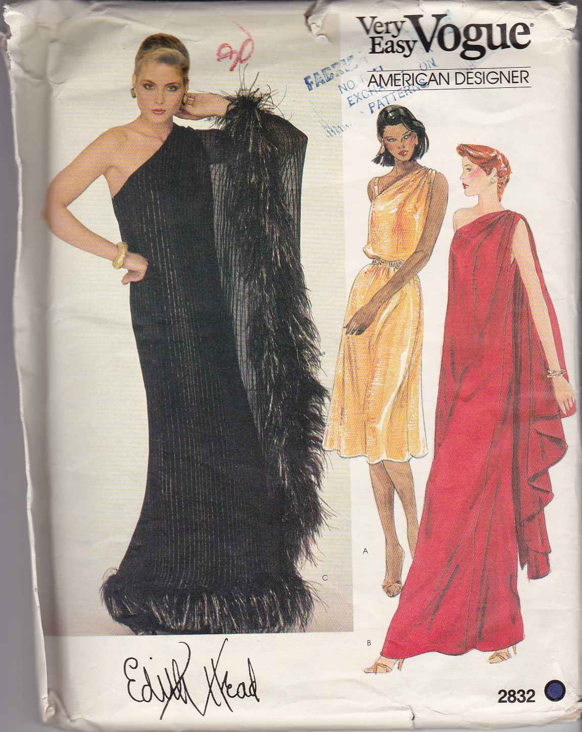 Vogue Sewing Pattern 2832 Misses Size 6 Edith Head Easy Grecian Evening Gown Long Short